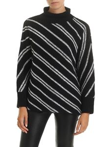 Ermanno Scervino - Jacquard pullover in black with rhinestones