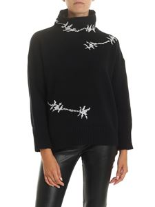 Ermanno Scervino - Turtleneck in black with rhinestones and inlays