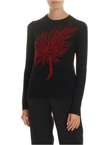N° 21 - Crew-neck pullover in black with inlay