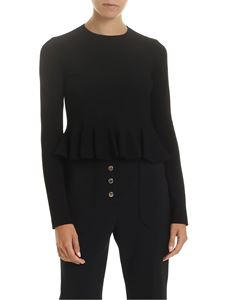Stella McCartney - Flared crop shirt in black with pleats