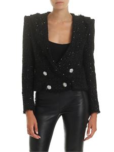 Balmain - Crop jacket in black tweed