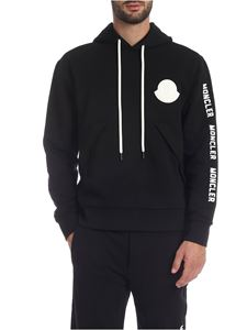 Moncler - Hoodie in black with rubberized Moncler logo