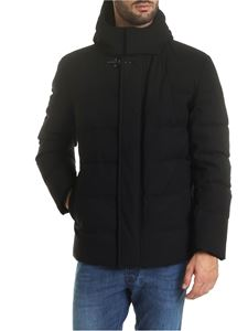 Fay - Black hooded down jacket with hook