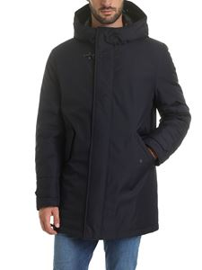 Fay - Long down jacket in dark blue with hook