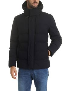 Fay - Hooded down jacket in blue with hook