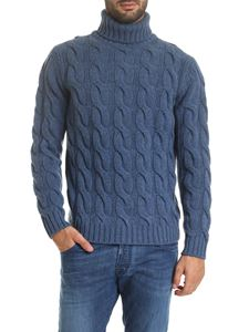 Kangra Cashmere - Turtleneck in blue with braided pattern