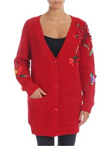 Blumarine - Red cardigan with applied flowers