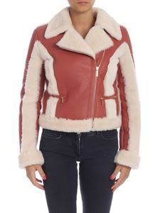 Blumarine - Pink sheepskin with fur details