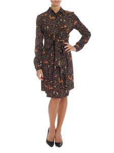 Fay - Black dress with printed animals