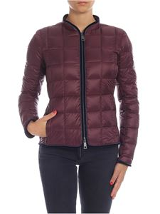 Fay - Burgundy down jacket with velvet edges