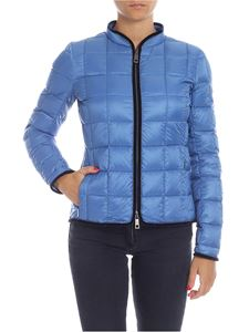Fay - Light blue down jacket with velvet edges