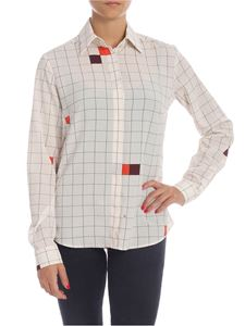 Fay - Checked shirt in ivory color