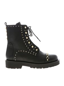 Twin-Set - Black ankle boots with golden metal studs