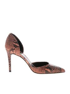 Twin-Set - Reptile printed leather pumps in pink