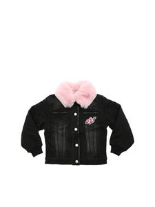 Monnalisa - Black jacket with pink eco-fur