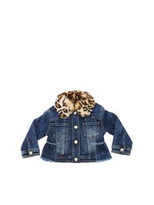 Monnalisa - Blue jacket with eco-fur insert