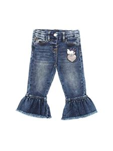 Monnalisa - Jeans blu con patch Hello Kitty