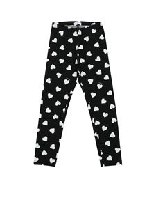 Monnalisa - Black leggings with hearts print