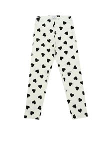Monnalisa - White leggings with hearts print