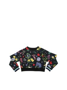 Monnalisa - Black crop sweatshirt with flower print