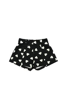 Monnalisa - Black shorts with heart print