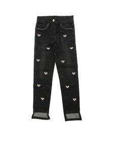 Monnalisa - Panther embroidered jeans in black