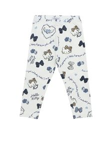 Monnalisa - Leggings bianchi stampa Hello Kitty