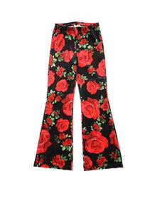 Monnalisa - Chenille pants with rose print