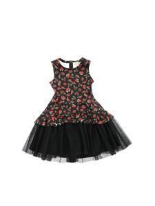 Monnalisa - Black dress with rose print
