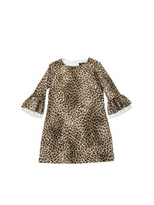 Monnalisa - Animal printed dress in beige and black