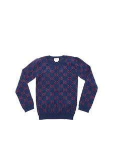 Gucci - Blue pullover with GG red lame motif
