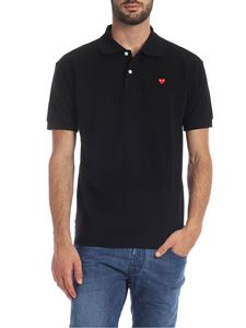 Comme des Garçons Play  - Heart Polo in black cotton