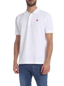 Comme des Garçons Play  - Heart Polo in white cotton