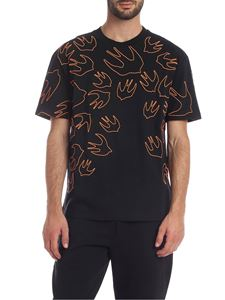 McQ Alexander Mcqueen - T-shirt Swallow Contrast Dropped nera