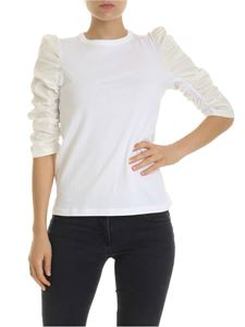 See by Chloé - White Powder T-shirt with gathered sleeves