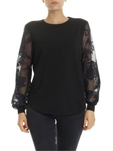 See by Chloé - T-shirt in black with lace sleeves