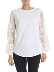 See by Chloé - White Powder T-shirt with lace sleeves
