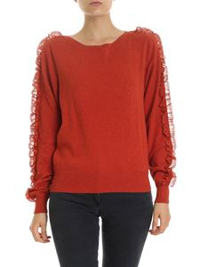See by Chloé - Pullover with Rooibos Orange lace details