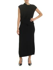 McQ Alexander Mcqueen - Long dress in black with drapery