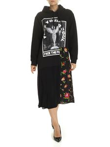 McQ Alexander Mcqueen - Black fleece dress with floral details