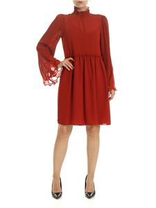 See by Chloé - Earthy Red georgette dress with gathered collar