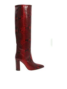 Paris Texas - Leather boots reptile effect in red