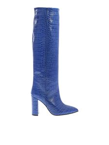 Paris Texas - Leather boots in blue reptile effect