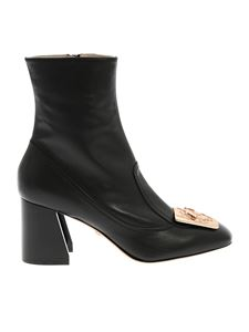 Paula Cademartori - Black ankle boots with metal logo
