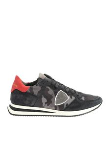 Philippe Model - Sneakers Tropez stampa camouflage grigia