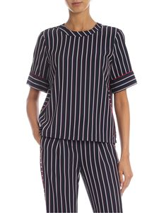 Tommy Hilfiger - Blue blouse with contrasting striped pattern