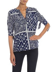 Tommy Hilfiger - Blue and white blouse with logo print