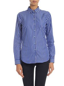 Tommy Hilfiger - Blue and white shirt with logo embroidery