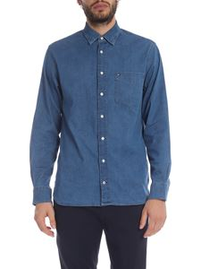 Tommy Hilfiger - Blue denim shirt with logo embroidery