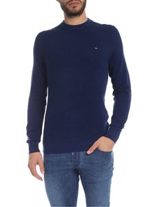 Tommy Hilfiger - Melange blue pullover with logo embroidery